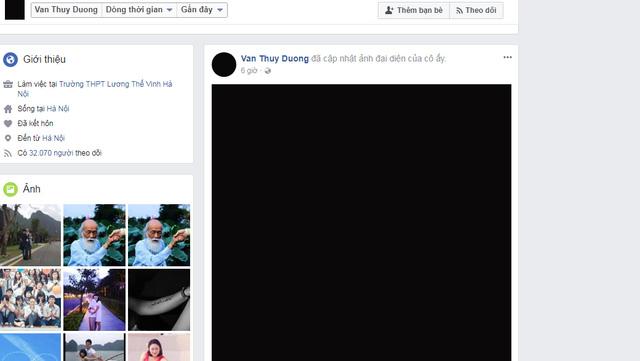 Facebook cô Văn Thùy Dương (con gái thầy Văn Như Cương) để hình đại diện màu đen.