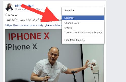 Facebook không cho xoá bài đã đăng