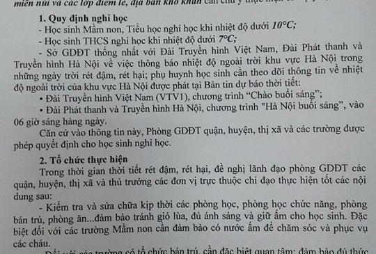 Hà Nội thông báo chính thức lịch học sinh nghỉ học tránh rét