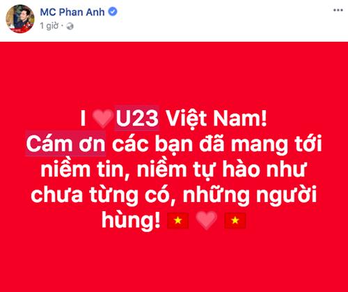 Trên trang Facebook cá nhân, nhạc sĩ Nguyễn Hồng Thuận (ảnh trên) và MC Phan Anh (ảnh dưới) cũng gửi lời cảm ơn đến U23 Việt Nam.