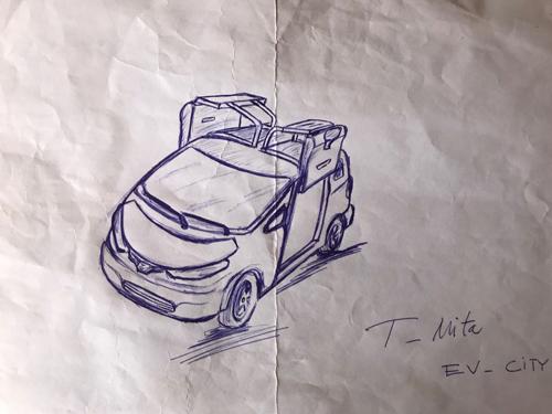Bản phác thảo hoàn thiện đầu tiên trên giấy mẫu xe điện của ông Trần Văn Tâm.